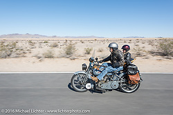 Dawn and Doc Hopkins of Doc's Harley-Davidson in Wisconsin riding their 1915 Harley-Davidson and wicker sidecar during the Motorcycle Cannonball Race of the Century. Stage-14 ride from Lake Havasu CIty, AZ to Palm Desert, CA. USA. Saturday September 24, 2016. Photography ©2016 Michael Lichter.