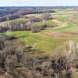 Big Elk Creek and hay fields in early spring in Elk Township, Pennsylvania.