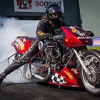 Ian 'Single' Ashelford (873) on his Attitude Racing Harley Davidson Top Bike at the Perth Motorplex.