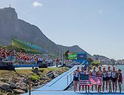 "Rio de Janeiro. BRAZIL.   2016 Olympic Rowing Regatta. Lagoa Stadium,<br /> Copacabana,  ""Olympic Summer Games""<br /> Rodrigo de Freitas Lagoon, Lagoa.   Saturday  13/08/2016 <br /> <br /> [Mandatory Credit; Peter SPURRIER/Intersport Images]"