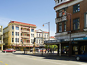 At the corner of Dee and Don Streets, Invercargill, New Zealand, with the historic Grand Hotel on Dee Street.