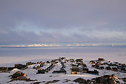 The remote village of Ittoqqortoormiit, Greenland, catches the late-night sunlight at 11 pm in May. Because of its location near the Arctic circle, the sun never actually disappears below the horizon  during the summer, although it does dip briefly behind the high hills that surround the village (population 550). In the winter the village experiences 24-hour-a-day darkness or twilight.