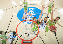 Vassilis Spanoulis of Greece between Zoran Dragic of Slovenia and Jure Balazic of Slovenia during basketball match between Slovenia vs Greece at Day 5 in Group C of FIBA Europe Eurobasket 2015, on September 9, 2015, in Arena Zagreb, Croatia. Photo by Vid Ponikvar / Sportida