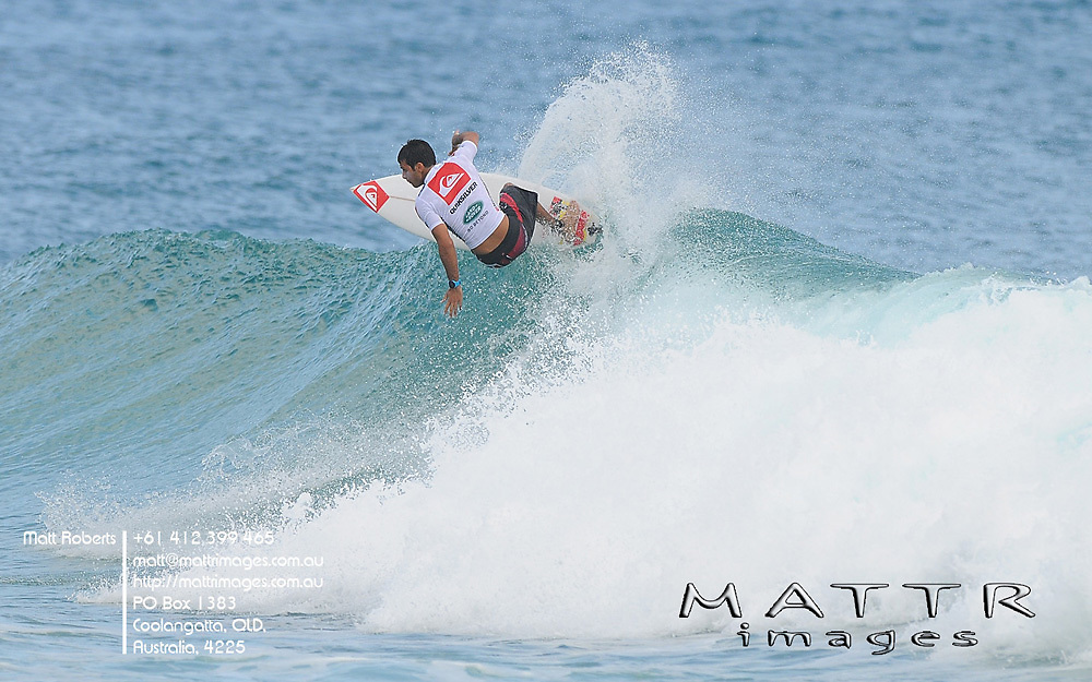 Gold Coast, Australia - February 27: Jeremy Flores won is heat with a total heat score of 12.67 during round 1 of the Quiksilver Pro Gold Coast 2010 presented by Land Rover at Snapper Rocks on the Gold Coast, February 27, 2010 Photo by Matt Roberts/MATTRimages.com.au