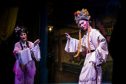 September 05, 2017 - A traditional Chiu Chow Opera performs during the month of the Hungry Ghost Festival. The Hungry Ghost Festival, Yu Lan, is an ancient Chinese festival, it is believed that the spirits are allowed to return to the Human World and stay for a month. Some of the main activities of the festival include paying respects to the hungry ghosts and opera for the spirits. It is recognised as part of China's Intangible Cultural Heritage.