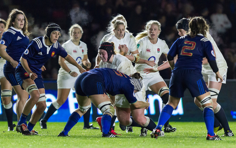 Laura Keates in action, England Women v France Women in an Old Mutual Wealth Series, Autumn International match at Twickenham Stoop, Twickenham, England, on 9th November 2016. Full Time score 10-5