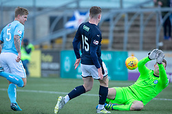Raith Rovers Kevin Nisbet scoring their second goal past Forfar Athletic's keeper Marc McCallum. half time : Forfar Athletic 1 v 2 Raith Rovers, Scottish Football League Division One played 27/10/2018 at Forfar Athletic's home ground, Station Park, Forfar.