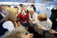 17 JUN 2009, AIRSPACE/UKRAINE:<br /> Frank-Walter Steinmeier, SPD, Bundesaussenminister, im Gespraech mit Journalisten, auf dem Rueckflug von Kiew nach Warschau, in einem Airbus A310 der Flugbereitschaft der bundeslauftwaffe, Luftraum uber der Ukraine<br /> IMAGE: 20090617-01-177<br /> KEYWORDS: travel, Flugzeug, plane