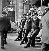 Cable Car crew turning a car at the Fifth and Market Street turnabout, San Francisco