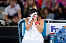 January 10, 2019 - Sydney, NSW, U.S. - SYDNEY, AUSTRALIA - JANUARY 10: Angelique Kerber (GER) wipes the sweat from her face at The Sydney International Tennis in the match between Angelique Kerber (GER) and Petra Kvitova (CZE) on January 10, 2018, at Sydney Olympic Park Tennis Centre in Homebush, Australia. (Photo by Speed Media/Icon Sportswire) (Credit Image: © Steven Markham/Icon SMI via ZUMA Press)