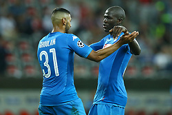 August 22, 2017 - Nice, France - Faouzi Ghoulam of Napoli and Kalidou Koulibaly of Napoli  celebrate after the UEFA Champions League Qualifying Play-Offs round, second leg match, between OGC Nice and SSC Napoli at Allianz Riviera Stadium on August 22, 2017 in Nice, France. (Credit Image: © Matteo Ciambelli/NurPhoto via ZUMA Press)