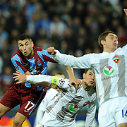 Trabzonspor's Burak YILMAZ (L) during their UEFA Champions League group stage matchday 4 soccer match Trabzonspor between CSKA Moskva at the Avni Aker Stadium at Trabzon Turkey on Wednesday, 02 November 2011. Photo by TURKPIX