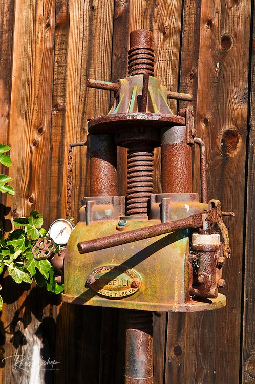 Antique wine press at Harmony Cellars, Harmony, California
