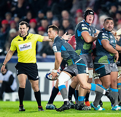 Shaun Venter of Ospreys<br /> <br /> Photographer Simon King/Replay Images<br /> <br /> European Rugby Champions Cup Round 1 - Ospreys v Munster - Saturday 16th November 2019 - Liberty Stadium - Swansea<br /> <br /> World Copyright © Replay Images . All rights reserved. info@replayimages.co.uk - http://replayimages.co.uk