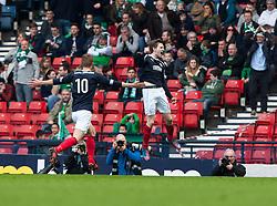 Falkirk's Blair Alson cele scoring their third goal..Half time : Hibernian 0 v 3 Falkirk, William Hill Scottish Cup Semi Final, Hampden Park..©Michael Schofield..