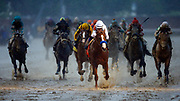 Justify with Mike Smith up crosses the finish line to win during the 144th Kentucky Derby at Churchill Downs Saturday, May 5, 2018, in Louisville, KY. (Wade Payne via AP Images)