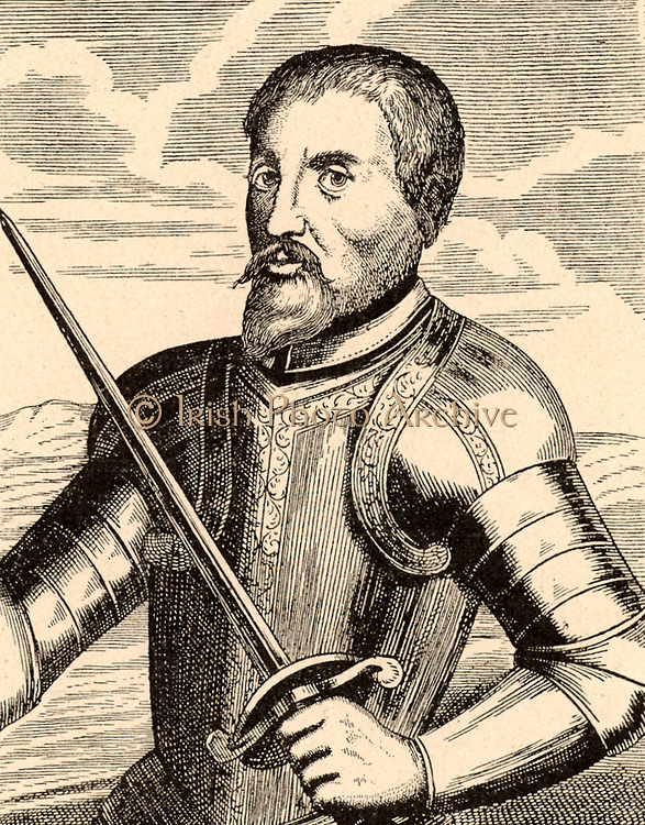 Fernando de Soto (c1496-1542) Spanish explorer and conquistador born at Xeres (Jerez) de los Caballeros, Estramadura, Spain. A member of the Spanish expedition to Darien (1518-1520), served in Nicaragua (1527) and assisted Pizzaro in the conquest of Peru.