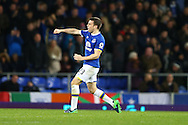Seamus Coleman of Everton celebrates after scoring his teams 1st goal to make it 1-1. Premier league match, Everton v Swansea city at Goodison Park in Liverpool, Merseyside on Saturday 19th November 2016.<br /> pic by Chris Stading, Andrew Orchard sports photography.