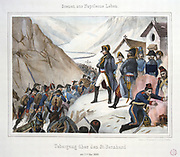 Napoleon crossing the Alps at the St Bernard Pass with the French Reserve Army , Spring 1800. Aquatint