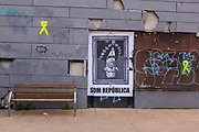 """""""Som Republica""""  - We Are A Republic. Poster of an upside down Felipe VI of Spain, the King of Spain, Moià, Catalonia. There was widespread dissent against the King following his refusal to condemn police violence against voters during the October 1 2017 Catalan independence referendum."""