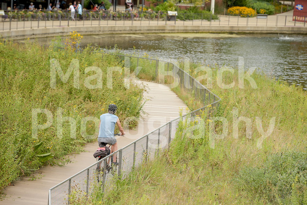 A bicyclist Lincoln Park Nature Boardwalk in Chicago on Thursday, Sept. 3, 2020. Photo by Mark Black