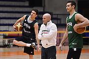 Biella, 14/12/2012<br /> Basket, All Star Game 2012<br /> Allenamento Nazionale Italiana Maschile <br /> Nella foto: luca dalmonte, lorenzo d'ercole, riccardo moraschini<br /> Foto Ciamillo