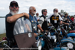 Willie Earhart lined up for the panorama portrait in Aune Osborne Park in Sault Sainte Marie, the site of the official start of the Cross Country Chase motorcycle endurance run from Sault Sainte Marie, MI to Key West, FL. (for vintage bikes from 1930-1948). Thursday, September 5, 2019. Photography ©2019 Michael Lichter.