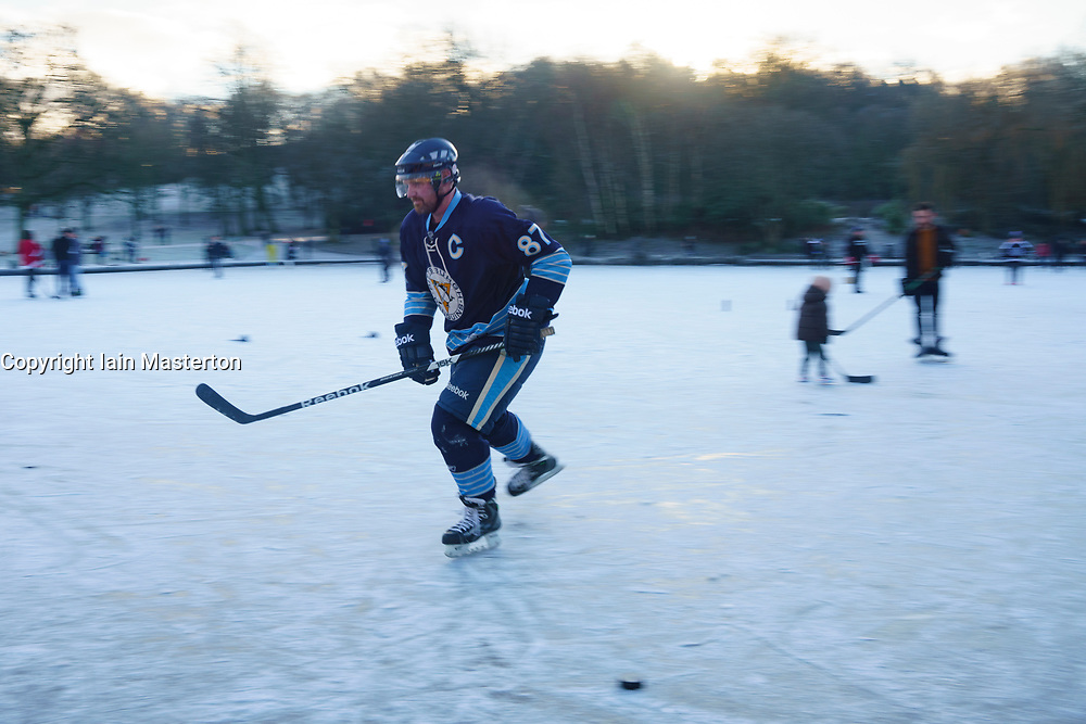 Glasgow, Scotland, UK. 3 January 2020. Keen amateur ice hockey players and a few figure skaters took advantage of freezing temperatures and a rare frozen pond at Queens Park in  Glasgow this morning. Iain Masterton/Alamy Live News