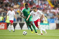 June 19, 2018 - Moscow - Piotr Zielinski of Poland and Alfred Ndiaye of Senegal in action during the 2018 FIFA World Cup Group H match between Poland and Senegal at Spartak Stadium in Moscow, Russia on June 19, 2018  (Credit Image: © Andrew Surma/NurPhoto via ZUMA Press)