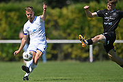 Hamilton Wanderers Joe Harris passes under pressure from Hawkes Bay United's Jorge Akers in the Handa Premiership football match, Hawke's Bay United v Hamilton Wanderers, Bluewater Stadium, Napier, Sunday, November 15, 2020. Copyright photo: Kerry Marshall / www.photosport.nz