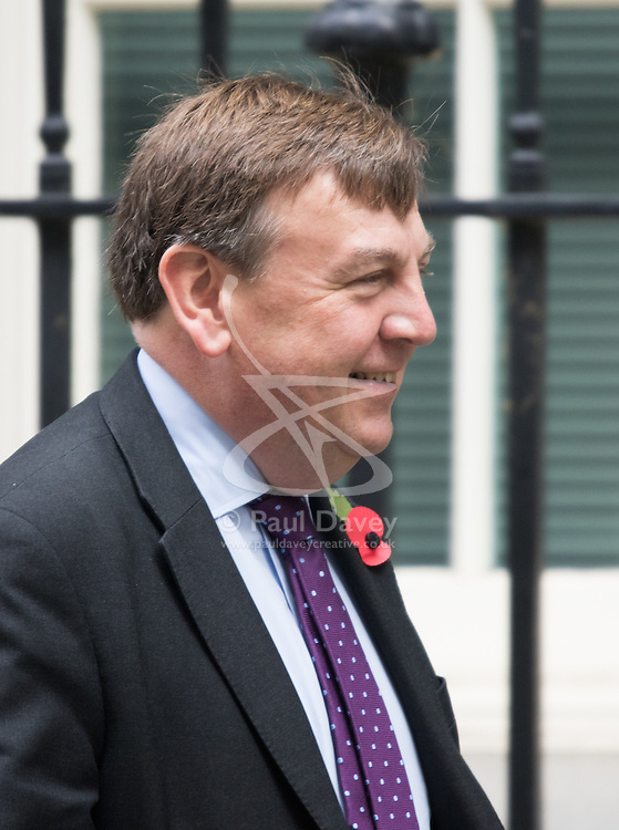 Downing Street, London, October 27th 2015.  Culture Secretary John Whittingdale leaves 10 Downing Street after attending the weekly cabinet meeting.