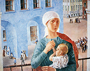 1918 in Petrograd', 1920. Oil on canvas. Kuzma Petrov-Vodkin (1878-1939) Russian painter. Young mother on balcony clasps her child. In the street below people go about their activities. Russia Leningrad St Petersburg.