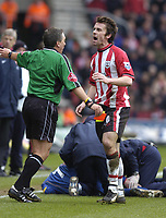 Photo: Alan Crowhurst. <br /> Southampton v Arsenal, 26/02/2005, Barclays Premiership. Southampton's David Prutton heads towards the linesman after being shown the red card.