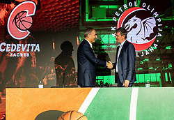 Emil Tedeschi, president of KK Cedevita and Tomaz Berlocnik, president of Petrol Olimpija during press conference of KK Petrol Olimpija (SLO) and KK Cedevita Zagreb (CRO) when announces cooperation or join of both clubs , into KK Cedevita Olimpija Ljubljana, on June 4th, 2019, in Arena Stozice, Ljubljana, Slovenia.Photo by Vid Ponikvar / Sportida