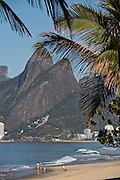 Ipanema beach and Two Brothers Mountain early morning in Rio de Janeiro, Brazil.