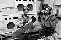 Teenage boys doing carpentry Nottingham UK 1989