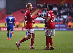 Charlton Athletic's Ben Reeves (left) celebrates scoring their third goal with team mate Jay Dasilva
