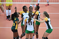 GUANGZHOU, June 20, 2017  Players of South Africa celebrate after scoring during the women's volleyball match against China at 2017 BRICS Games in Guangzhou, south China's Guangdong Province, June 20, 2017. (Credit Image: © Liang Xu/Xinhua via ZUMA Wire)