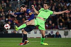 January 17, 2019 - Barcelona, Catalonia, Spain - Leo Messi and Postigo during the match between FC Barcelona and Levante UD, corresponding to the 1/8 final of the spanish cup, played at the Camp Nou Stadium, on 17th January 2019, in Barcelona, Spain. (Credit Image: © Joan Valls/NurPhoto via ZUMA Press)