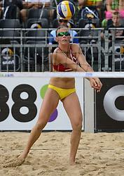 16-07-2014 NED: FIVB Grand Slam Beach Volleybal, Apeldoorn<br /> Poule fase groep G vrouwen - Alexandra Moiseeva (1)  RUS
