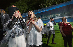 © Licensed to London News Pictures. 11/07/2021. London, UK. Supporters react as England lose to Italy during a penalty shootout at the EURO 2020 final as they watch the giant screens in Trafalgar Square, central London. Photo credit: Peter Macdiarmid/LNP
