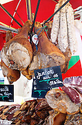On a street market. Dry cured ham. Bordeaux city, Aquitaine, Gironde, France
