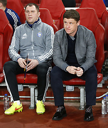 February 21, 2019 - London, Greater London, United Kingdom - Alyaksey Baha manager of FC Bate Borisow (Right)..during UEFA Europa League Round of 32 2nd Leg between Arsenal and of Bate Borisov at Emirates stadium , London, England on 20 Feb 2019. ..Credit Action Foto Sport. (Credit Image: © Action Foto Sport/NurPhoto via ZUMA Press)