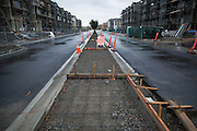 Construction continues past Milpitas' goal date of March 31st on McCandless Drive near Great Mall Parkway, photographed in Milpitas, California, on March 31, 2014. (Stan Olszewski/SOSKIphoto)