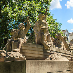 Washington Crossing, PA, USA - June 23, 2012: This sculpture of General Washington depicts the crossing of the Delaware River on Christmas Day and capturing Trenton NJ in 1776 during the American Revolution.