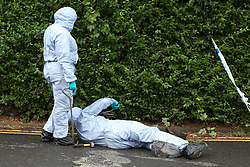© Licensed to London News Pictures. 05/08/2019. London, UK. Crime scene investigators carries out the search in a drains on Waltheof Gardens in Tottenham, north London following a death of a woman in no 46 Waltheof Gardens. Police were called around 10:45 am on 4 August 2019 where the body of an 89-year-old woman was found. According to the police one or more suspects gained entry to the woman's house between Saturday (3 August) evening and Sunday (4 August) morning. Photo credit: Dinendra Haria/LNP