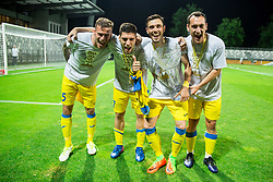 Miha Blazic of NK Domzale, Matija Sirok of NK Domzale, Amedej Vetrih of NK Domzale and ... of NK Domzale celebrate after winning during football match between NK Domzale and NK Olimpija Ljubljana in Final of Slovenian Cup 2017, on May 31, 2017 in Stadium Bonifika, Koper / Capodistria, Slovenia. Photo by Vid Ponikvar / Sportida