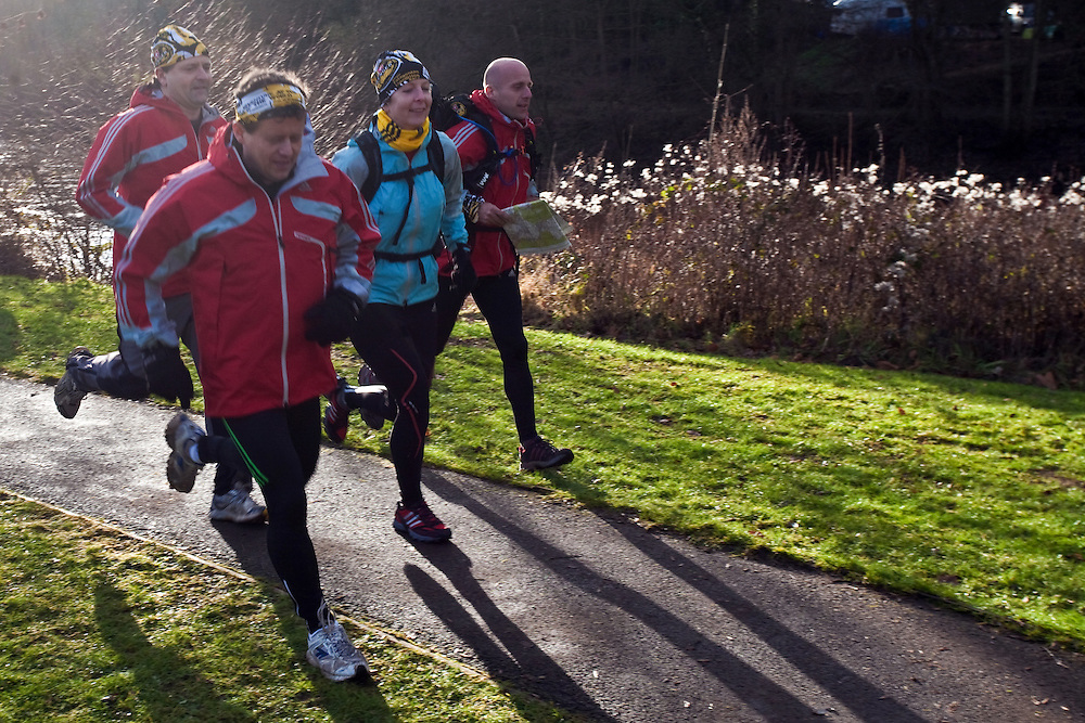 Left to Right - Richard Maddon, Mike Bushall, Nick Gracie, Fi Spotswood at the start of  Training with AdidasTERREX on the Wenger Patagonia Expedition Race media day. 11/01/2011.Copyrighted work - Permission must be sought before use of this image..Alex Ekins +44 (0)7901 882994.