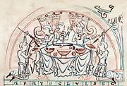 Banquet. Chromolithograph after 11th century English Psalter