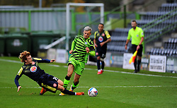 Arthur Read of Stevenage tackles Josh March of Forest Green Rovers- Mandatory by-line: Nizaam Jones/JMP - 17/10/2020 - FOOTBALL - innocent New Lawn Stadium - Nailsworth, England - Forest Green Rovers v Stevenage - Sky Bet League Two